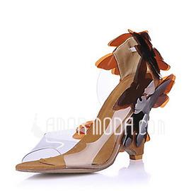 Frauen PVC Keil Absatz Sandalen Keile mit Blume Schuhe (087015260)