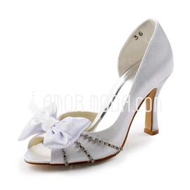 Vrouwen Satijn Stiletto Heel Peep Toe Sandalen met Strik Strass (047005366)