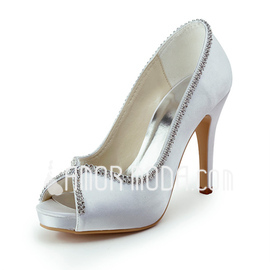 Frauen Satin Kegel Absatz Peep Toe Plateauschuh Sandalen mit Perlen verziert (047011821)