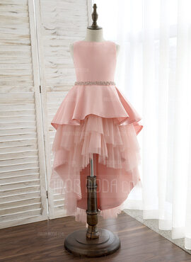 Ball-Gown/Princess Asymmetrical Flower Girl Dress - Satin/Tulle Sleeveless Scoop Neck With Rhinestone (010172353)