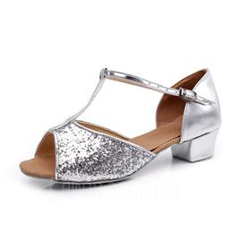 Kvinnor Glittrande Glitter Sandaler Latin med T-Rem Dansskor (053008116)