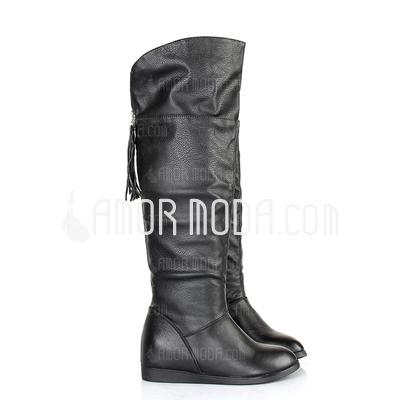 Kunstleder Keil Absatz Kniehocher Stiefel mit Geraffte Schuhe (088033798)