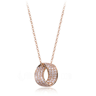 Schöne Legierung mit Strass Damen Halsketten (011051770)