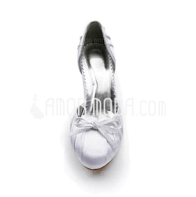 Frauen Satiniert Spule Absatz Geschlossene Zehe Absatzschuhe mit Flakem Geraffte (047005121)
