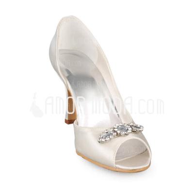 Vrouwen Satijn Stiletto Heel Peep Toe Sandalen met Bergkristal (047011043)