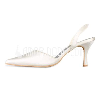 Vrouwen Satijn Stiletto Heel Closed Toe Pumps Slingbacks (047010758)