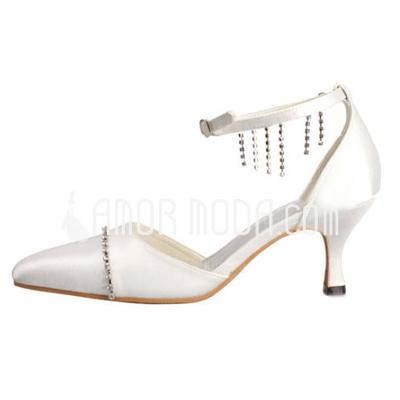 Frauen Satiniert Spule Absatz Geschlossene Zehe Absatzschuhe mit Schnalle Straß (047010747)