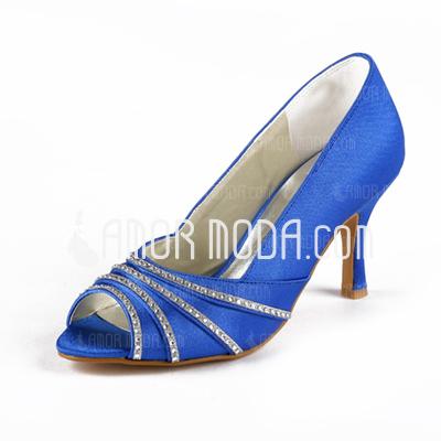 Vrouwen Satijn Stiletto Heel Peep Toe Sandalen met Strass (047010808)