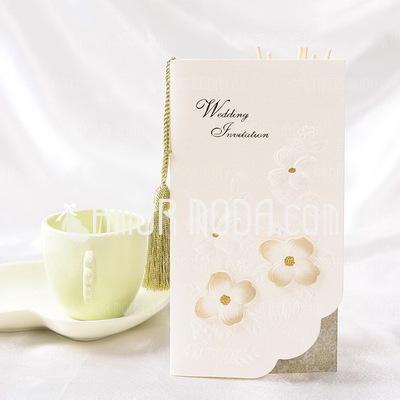 Bloemen Stijl Tri-Fold Invitation Cards met Kwasten (Set van 10) (114032377)