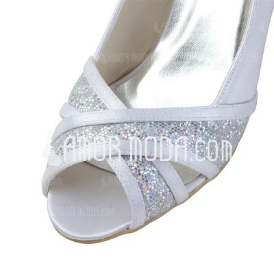 Frauen Satiniert Kegel Absatz Peep Toe Sandalen mit Funkelnde Glitzer (047033116)