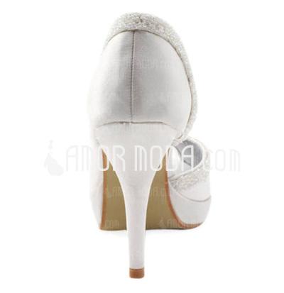 Frauen Satin Kegel Absatz Peep Toe Plateauschuh Sandalen mit Pailletten (047004931)