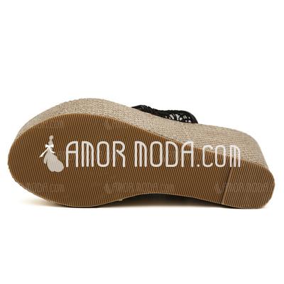 stoff keil absatz plateauschuh keile flip flops pantoffel. Black Bedroom Furniture Sets. Home Design Ideas