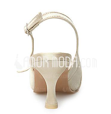 Donna Raso Tacco a rocchetto Punta chiusa Stiletto Con cinturino con Bowknot Fibbia (047005130)