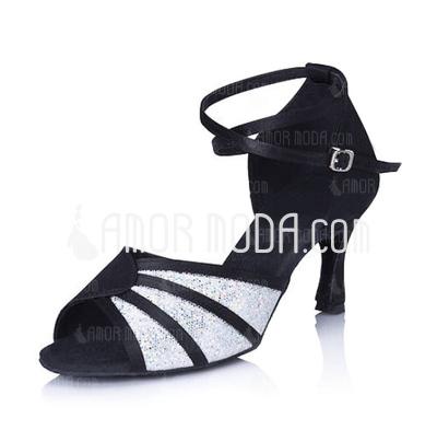Vrouwen Satijn Sprankelende Glitter Hakken sandalen Latijn met Enkelriempje Dansschoenen (053006994)