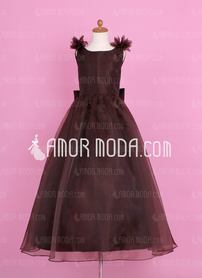 A-Line/Princess Floor-length Flower Girl Dress - Organza/Charmeuse Sleeveless Scoop Neck With Flower(s)/Bow(s)/V Back (010002147)