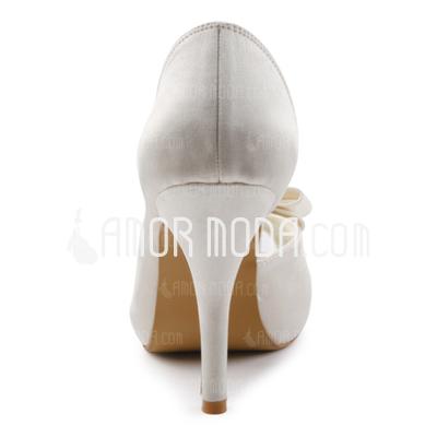 Vrouwen Satijn Cone Heel Peep Toe Plateau Sandalen met Strik Bergkristal (047005327)