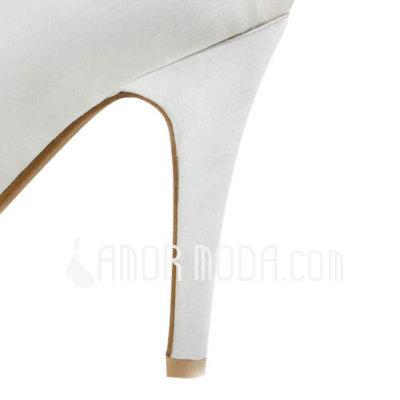 Vrouwen Satijn Stiletto Heel Peep Toe Plateau Sandalen (047011893)
