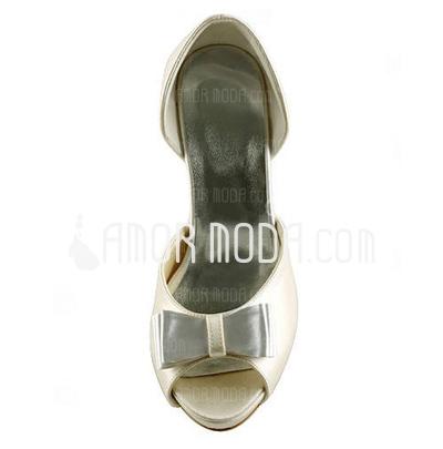 Kvinnor Satäng Cone Heel Peep Toe Plattformen Sandaler med Rosettknut (047005528)