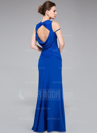 Etui-Linie Wellenkante Bodenlang Jersey Abendkleid mit Rüschen Perlstickerei Schlitz Vorn (017047388)
