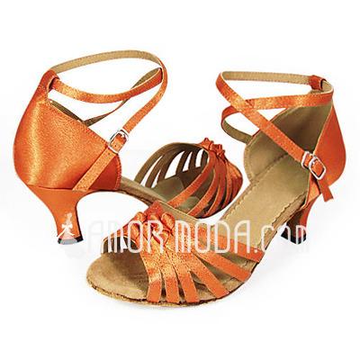 Vrouwen Satijn Hakken sandalen Latijn met Enkelriempje Dansschoenen (053013439)