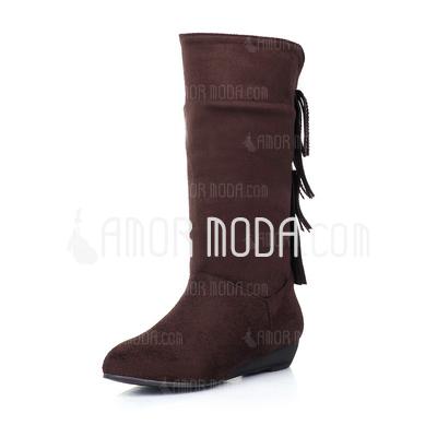 Wildleder Niederiger Absatz Stiefel-wadenlang mit Strass Quaste Schuhe (088032992)