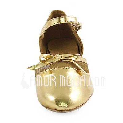 Vrouwen Kinderen Patent Leather Hakken Flats Pumps Moderne met Strik Dansschoenen (053013436)