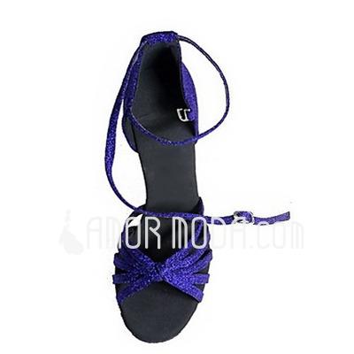 Frauen Funkelnde Glitzer Heels Sandalen Latin mit Knöchelriemen Tanzschuhe (053013440)