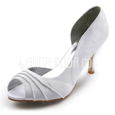 Kvinnor Satäng STILETTKLACK Peep Toe Sandaler med rynkad (047005129)