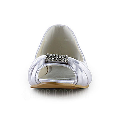 Vrouwen Satijn Flat Heel Peep Toe Sandalen met Strass (047014110)