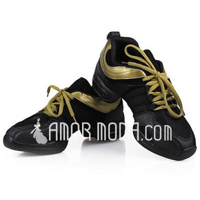 Vrouwen Kunstleer Flats Dans Sneakers Oefening Dansschoenen (053012961)