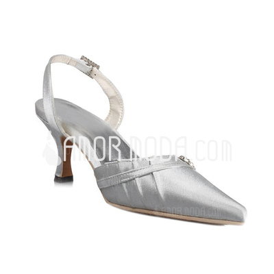 Vrouwen Satijn Spool Hak Closed Toe Sandalen Slingbacks met Buckle Bergkristal (047011055)