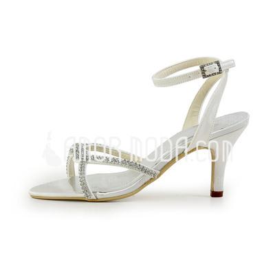 Vrouwen Kunstleer Cone Heel Sandalen met Gesp Strass (047011802)