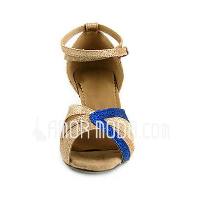 Frauen Funkelnde Glitzer Heels Sandalen Latin mit Knöchelriemen Tanzschuhe (053013441)