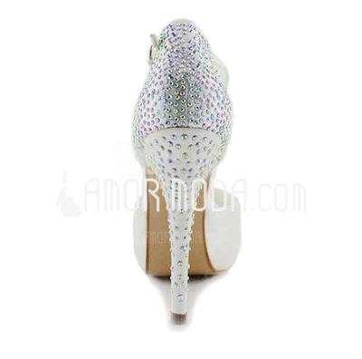 Vrouwen Satijn Stiletto Heel Peep Toe Plateau Sandalen met Strass (047010804)