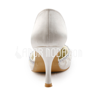 Kvinnor Satäng Stilettklack Stängt Toe Pumps med Strass Stitching Lace (047005381)