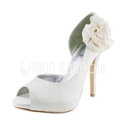 Frauen Satiniert Stöckel Absatz Peep Toe Plateauschuh Sandalen mit Satin Blumen (047011056)
