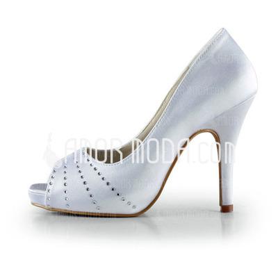 Frauen Satin Kegel Absatz Peep Toe Plateauschuh Sandalen mit Strass (047016500)