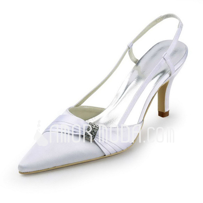 Vrouwen Satijn Stiletto Heel Closed Toe Pumps Slingbacks met Bergkristal (047011851)