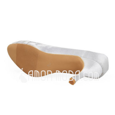 Frauen Satén Stöckel Absatz Geschlossene Zehe Absatzschuhe mit Strass (047011898)