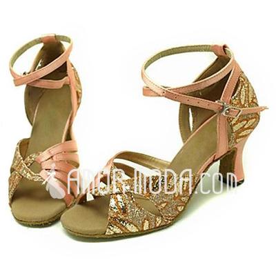 Vrouwen Satijn Sprankelende Glitter Sandalen Latijn Ballroom Dansschoenen (053013269)