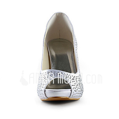 Frauen Satiniert Kegel Absatz Peep Toe Plateauschuh Sandalen mit Straß (047015218)