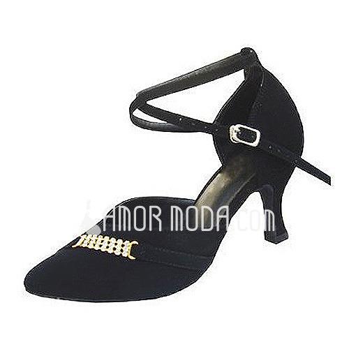 Femmes Nubuck Talons Escarpins Salle de bal avec Lanière de cheville Chaussures de danse (053013024)