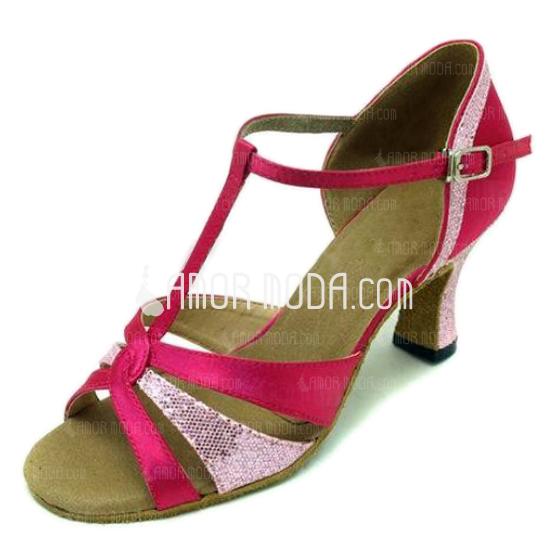 Vrouwen Satijn Sprankelende Glitter Sandalen Latijn Ballroom met T-Riempjes Dansschoenen (053008917)