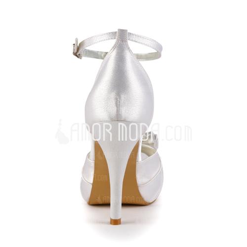 Femmes Satiné Talon cône À bout ouvert Plateforme Sandales avec Un nœud Boucle (047005118)