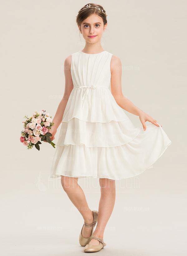A-Linie U-Ausschnitt Knielang Chiffon Kleid für junge Brautjungfern mit Schleife(n) Gestufte Rüschen (009173308)