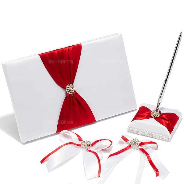 High Quality Rhinestones/Bow Guestbook & Pen Set (101018146)