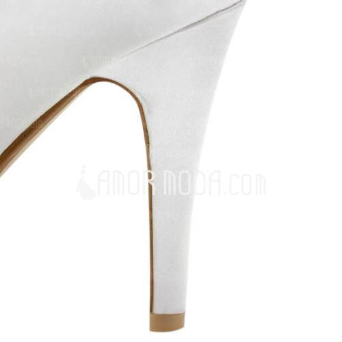 Frauen Satiniert Kegel Absatz Peep Toe Plateauschuh Sandalen mit Flakem (047005829)