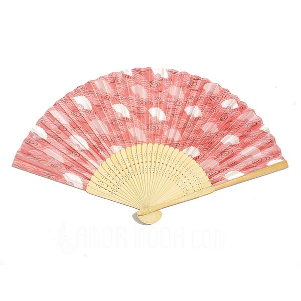Blumenmuster Bambus/Seide Handventilator (4-er Set) (051040468)