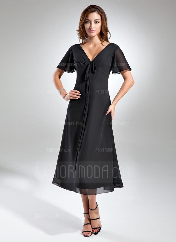 A-Linie/Princess-Linie V-Ausschnitt Wadenlang Chiffon Kleid für die Brautmutter mit Rüschen Schleife(n) (008015560)