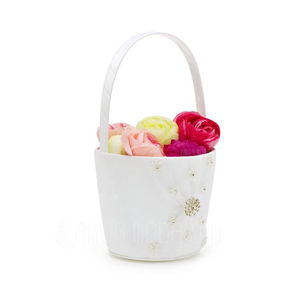 Schöne/Elegant Blumenkorb in Satin mit Strasssteine (102037349)
